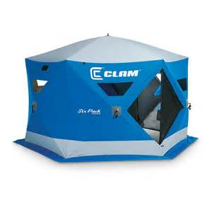 clam six pack 1550 mag hub pop up ice shelter 229811