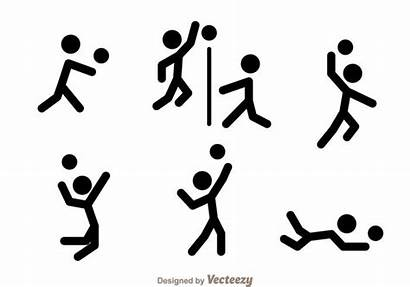 Volleyball Stick Figure Vector Icons Player Graphics