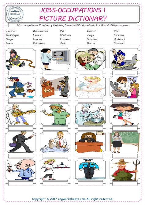 jobs occupations esl printable english vocabulary worksheets