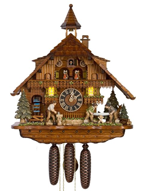 clockway  moving wood sawyers german black forest