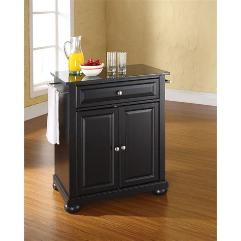alexandria black granite top kitchen cart black