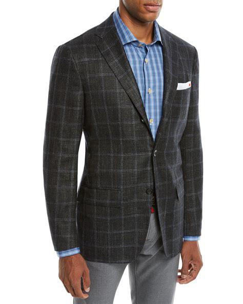 kiton mens cashmere triblend windowpane  button sport coat neiman marcus