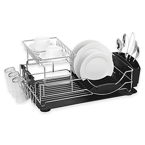 home basics 2 tier dish rack home basics 174 2 tier deluxe dish drainer bed bath beyond
