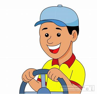 Driver Clipart Wheel Steering Holding Clip Smiling