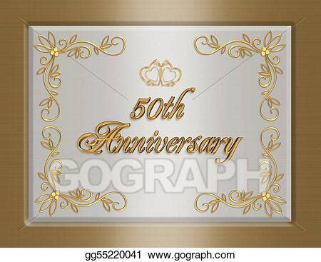 Stock Illustration 50th golden wedding anniversary