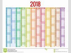 Calendario 2018 Modello Della Stampa La Settimana Comincia