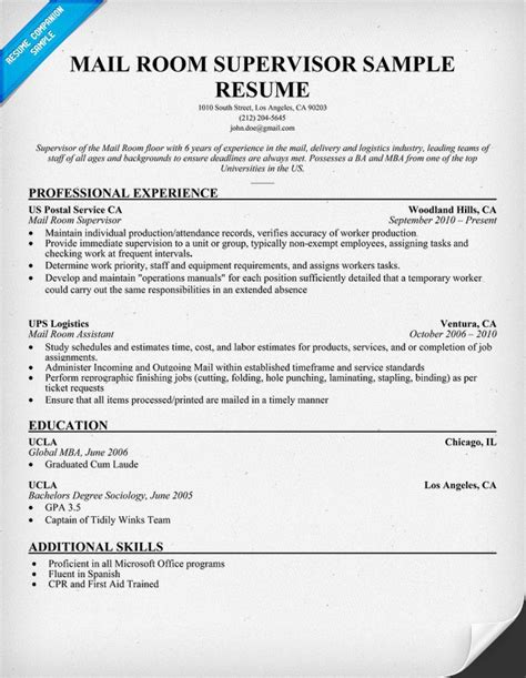 28 mailroom supervisor resume sles velvet