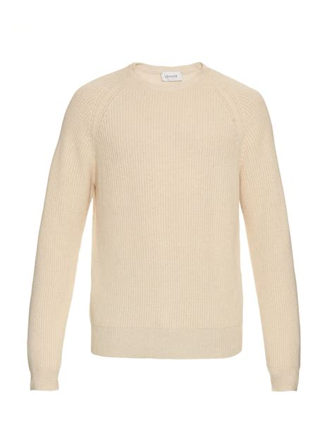 sweaters for lyst lemaire wool blend ribbed knit sweater in