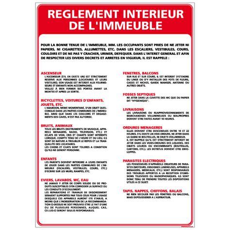 reglement interieur pour le personnel panneau rglement intrieur de l immeuble a0316