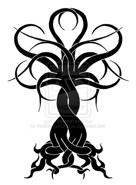 Intertwined Tree: OakCherry BW by ~VoidQueenElishiva on deviantART | A Family Tree | Tatouage