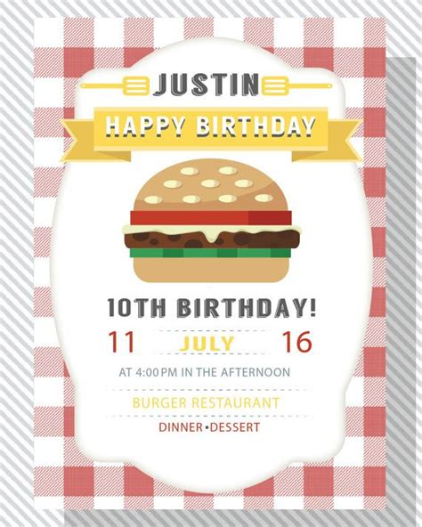 cheese burger party invitation fast food party hamburger
