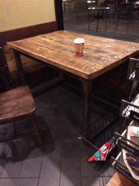 starbucks wood  metal table