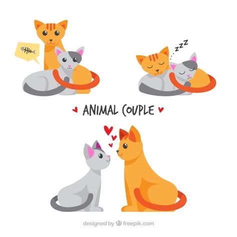 Almost files can be used for commercial. Free Vector   Flat valentine's day animal couples collection