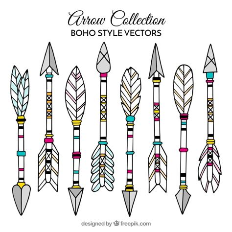 collection  boho arrows  hand drawn feathers vector