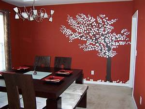 bright red wall color dining room contemporary with wall With red dining room wall decor