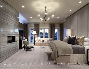 Contemporary Master Bedroom with Glass panel door by Marc