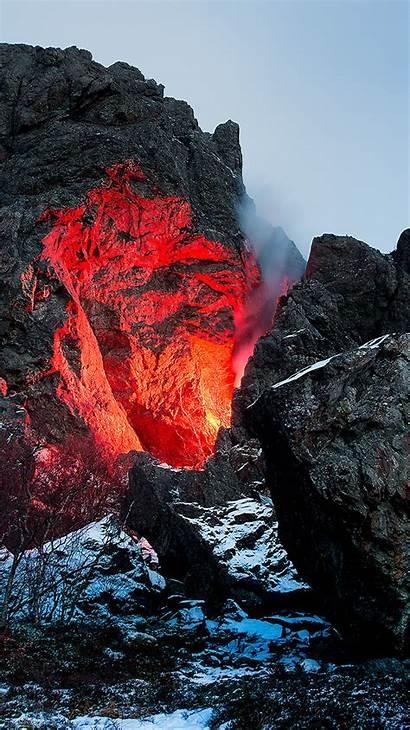 Iphone Nature Fire Mountain Lava Volcano Plus