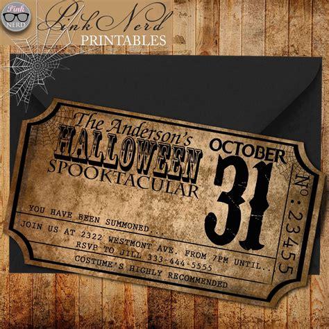 Vintage Halloween invitation ticket Old Halloween party