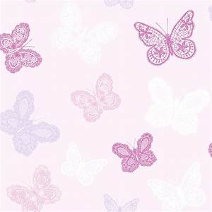 Shop graham brown kids at home 56 sq ft pink paper for Kitchen cabinets lowes with pink butterfly wall art
