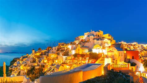 Panorama Of Oia At Sunset Santorini Greece Stock Photo