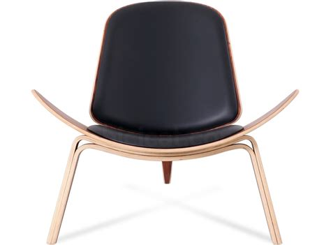 replica shell chair leather by hans wegner