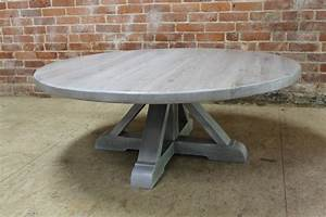 Round White-Washed Coffee Table with Pedestal