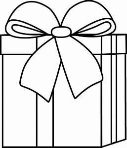 Black and White Christmas Gift Clip Art - Black and White ...