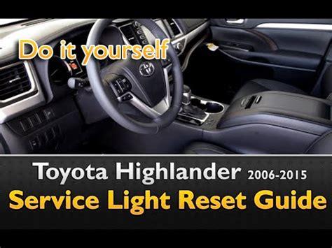 toyota highlander maint reqd service light oil life reset