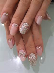 Heart nails and pink bridalnail glitter sparkly rhinestone