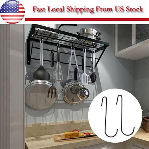 iron hanging pot holder frying pan hanger kitchen storage cookware hook rack  ebay