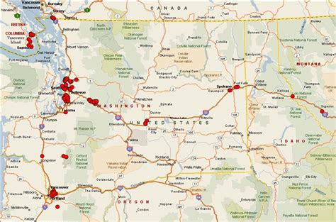 map  washington state  idaho  travel information