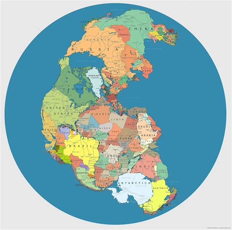 Pangea Supercontinent w/ Current National Borders - Geekologie