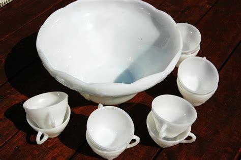 milk glass bowl vintage milk glass punch bowl set milk white