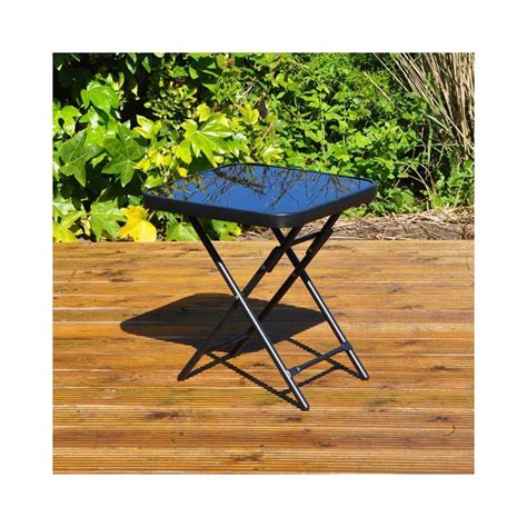 garden patio table folding strong metal tempered glass top