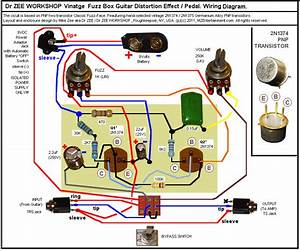 Vintage Fuzz Box Guitar Distortion Pedal Wiring Diagram