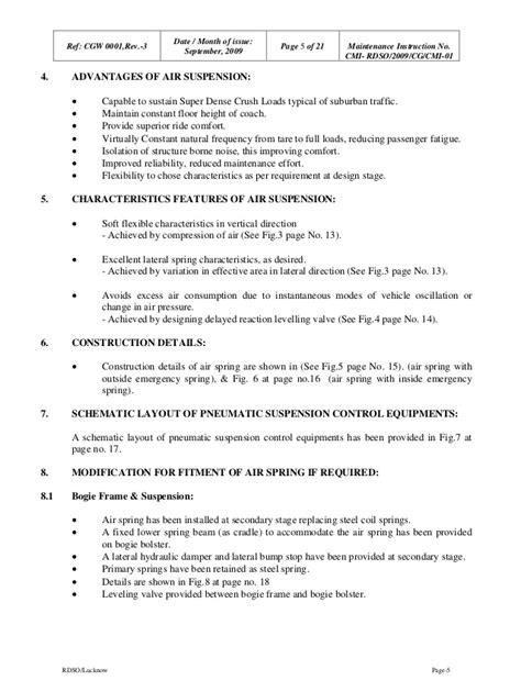 Maintenance instructions on Air Suspension RDSO 2009-CG-CMI-01