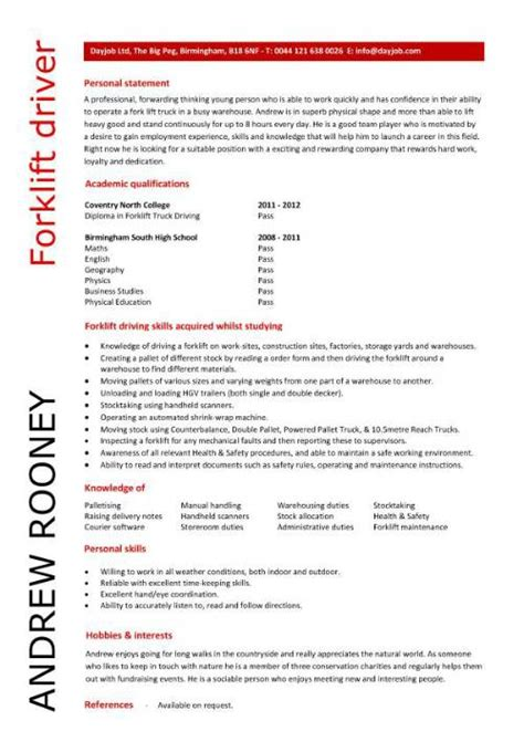 Forklift Resumes Sle by Entry Level Resume Templates Cv Sle Exles