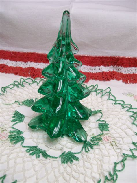glass christmas tree vintage 6 holiday decoration green