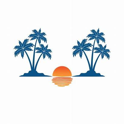 Sunset Tree Coconut Shadow Theme Island Sea