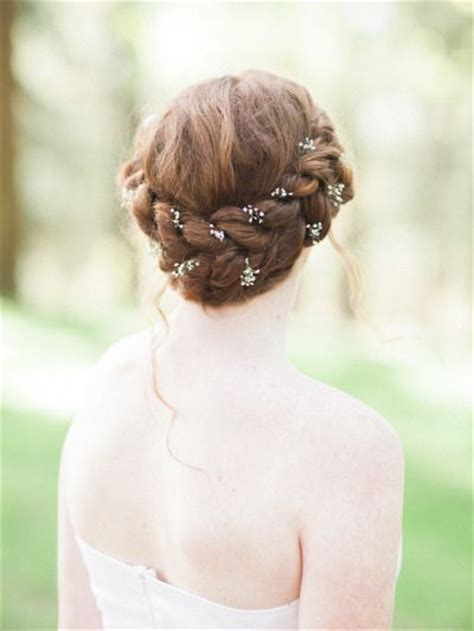 Thick Braided Wedding Hairstyle Crown With Babys Breath