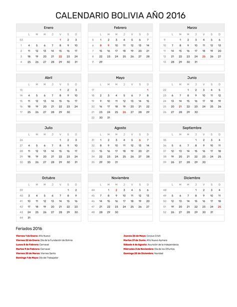calendario bolivia ano feriados