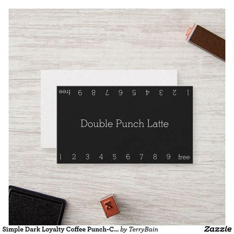 simple dark loyalty coffee punch card zazzlecom