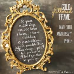 gift ideas for 50th wedding anniversary gold and glittered frame and print 50th anniversary decor
