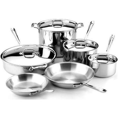 cookware stainless steel clad piece ply tri dishwasher safe bonded silver rated amazon