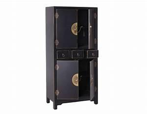 Armoire 4 Portes : armoire noire vieillie chinoise pour une chambre ~ Teatrodelosmanantiales.com Idées de Décoration
