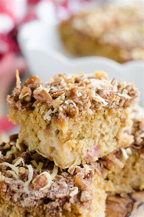 Rhubarb is harvested in the summer, making this dessert recipe a timely treat. Rhubarb Streusel Coffee Cake is a moist buttermilk cake ...