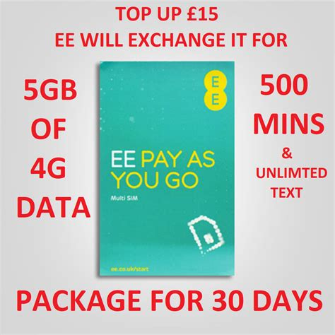 ee nano micro standard sim card for iphone pay and go 4gb 4gee ebay