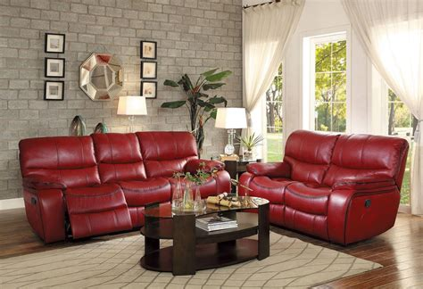 Francis  Modern Living Room Furniture Red Faux Leather