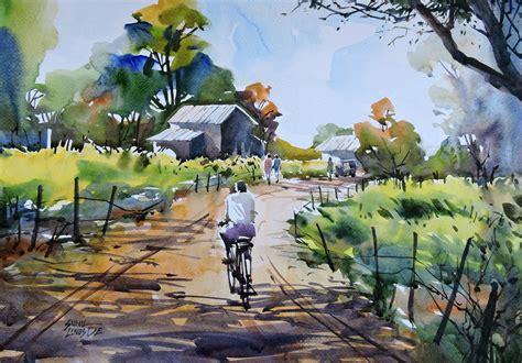 village  artist sunil linus de impressionism painting