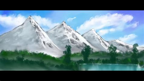 Drawing A Landscape With Snow Covered Mountains Youtube